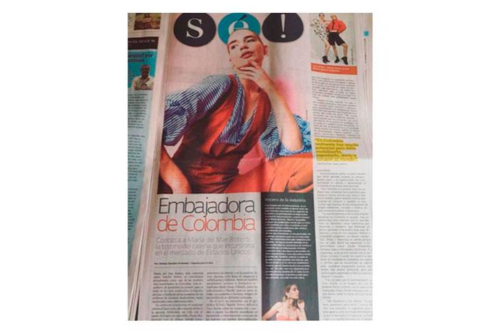 Artículo en le periódico sobre marita botero y su paso por el Coco Rocha Model Camp.